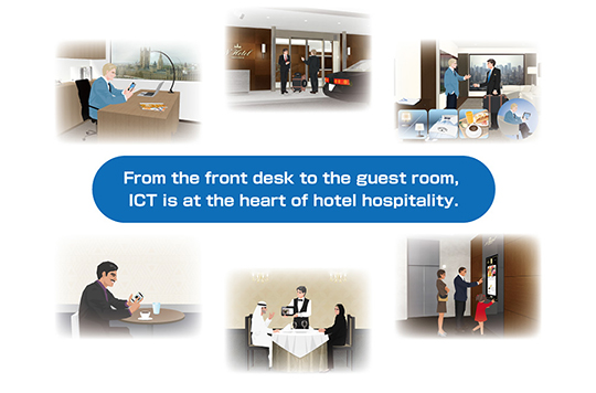 Figure:From the front desk to the guest room, ICT is at the heart of hotel hospitality.